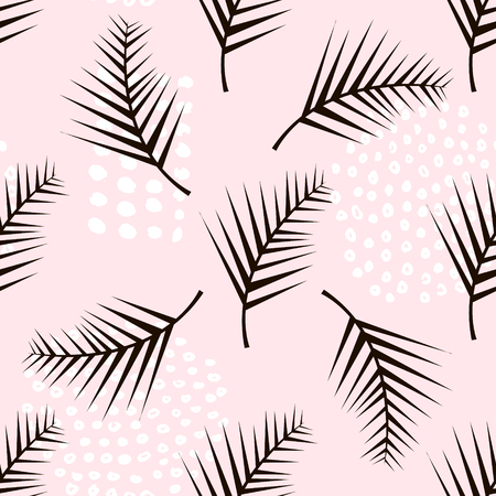 Palm branch trendy seamless pattern with hand drawn elements. Illustration