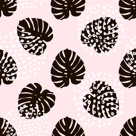 Palm branch trendy seamless pattern with hand drawn elements. Иллюстрация