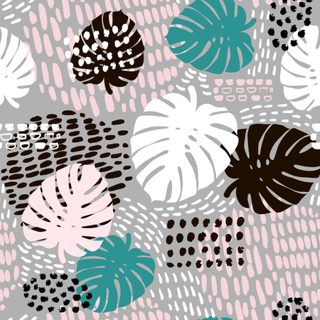 Palm branch trendy seamless pattern with hand drawn elements. Ilustração