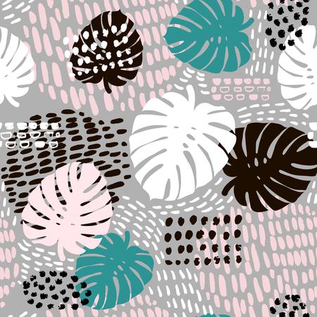 Palmtak trendy naadloze patroon met hand getrokken elementen. Stockfoto - 77581794