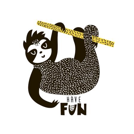 Sloth cartoon illustration in scandinavian style. Vector illustration Illustration