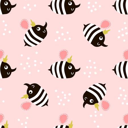 Joli modèle sans couture enfantin avec abeille. Parfait pour le tissu, le textile, l'emballage. Fond de vecteur dans un style scandinave Banque d'images - 77576129