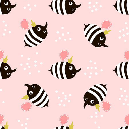 Cute childish seamless pattern with bee. Perfect for kids fabric, textile, wrapping. Vector background in scandinavian style