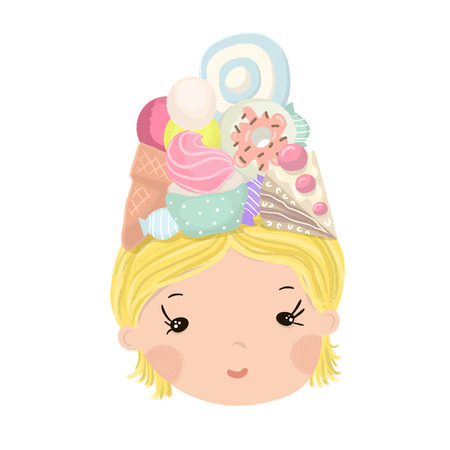 cupcake illustration: Cute little girl portrait with tasty sweets food on head. Summer illustration for kids apparel,poster,card Stock Photo