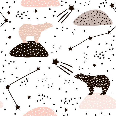 Seamless pattern with polar bears silhouette and Constellations . Perfect for fabric,textile.Vector background Illustration