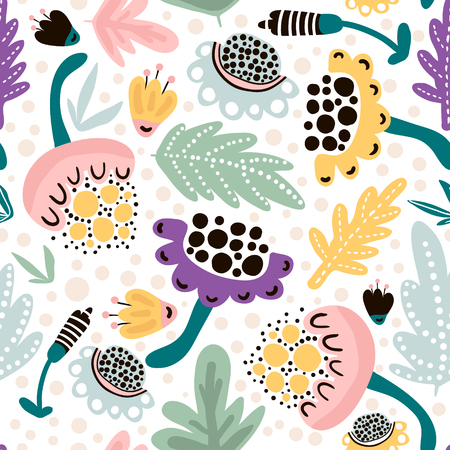 Seamless hand drawn floral pattern in pink, mint,black colors. Great for fabric and textile. Vector Illustration
