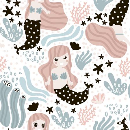 かわいい人魚とシームレスな幼稚なパターン。海底のベクトルのトレンディなテクスチャです。布、繊維、包装に最適  イラスト・ベクター素材