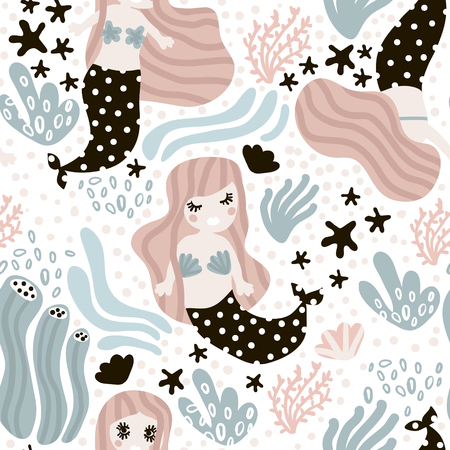Seamless childish pattern with cute mermaids. Undersea vector trendy texture.Perfect for fabric,textile,wrapping Çizim