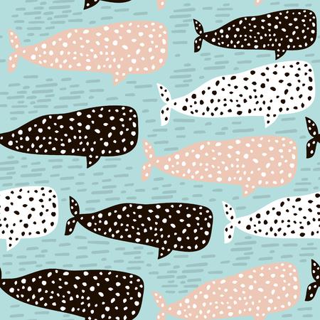 Modèle sans couture avec baleine. Texture enfantine pour tissu, textile. Fond de vecteur