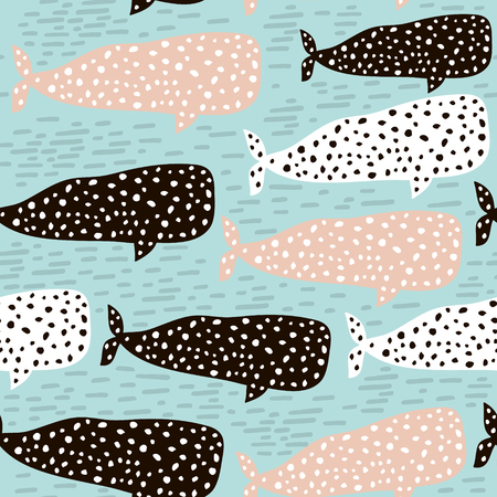 Seamless pattern with whale. Childish texture for fabric, textile. Vector background