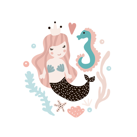 Cute illustration with mermaid and seahorse. Childish print with marine elements. Perfect for poster, card,kids apparel,bags. Vector Illustration