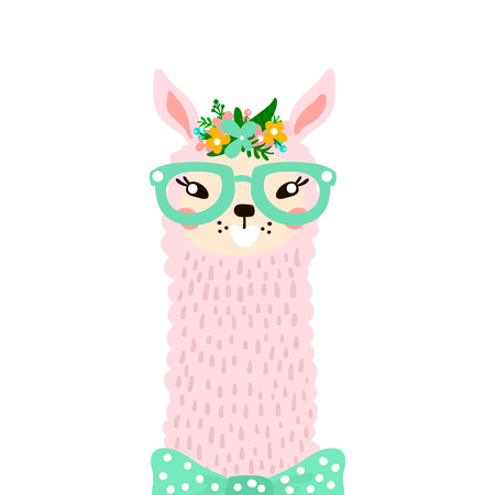 Cute lama head isolated on white. Vector illustration Illustration
