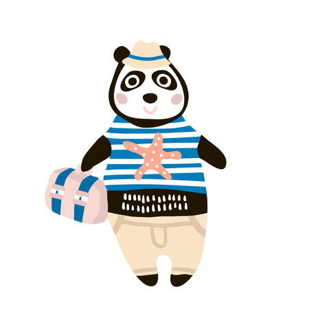 Cute dressed panda tourist hand drawn vector illustration. Cartoon panda boy character with travel case. Can be used for baby fashion print design, kids wear, poster, greeting and invitation card.