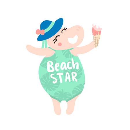 Cute hippo girl hand drawn vector illustration. Cartoon hippo with ice cream and swimsuit character isolated. Can be used for baby fashion print design, kids wear, poster, greeting and invitation card Ilustracja