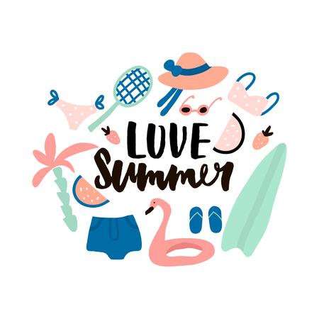 Love zomer. Hand belettering citaat gemaakt met penseel. Illustratie met zomer elementen. Hoed, bikini, zonnebril, palm, surf, racket, zwemring, watermeloen, overhemden.