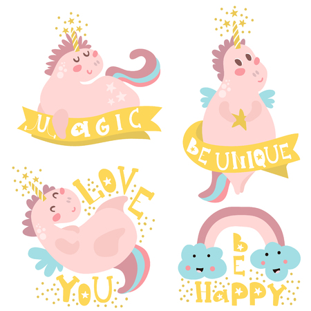Set of four magic unicorns with different type of quotes. Ready childish label,banner, cards, stickers, poster for kids and baby products.Vector illustration