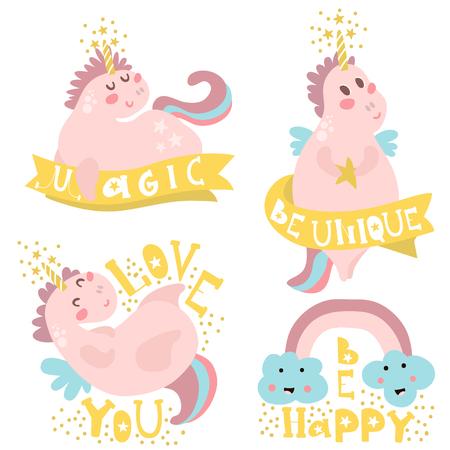 Set van vier magische eenhoorns met verschillende soorten citaten. Klaar kinderachtig label, banner, kaarten, stickers, poster voor kinderen en babyproducten. Vectorillustratie