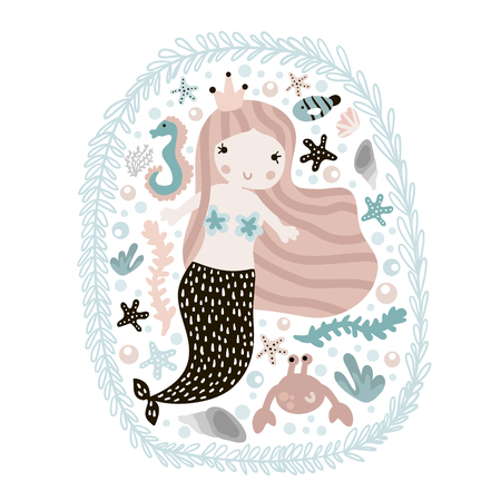 Cute illustration with mermaid,seahorse, crab, and seashells. Childish print with marine elements. Perfect for poster, card,kids apparel,bags. Vector Illustration