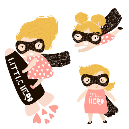 Baby girls superhero set isolated on white background.Perfect for t-shirt print,poster, card,baby shower cards. Vector Illustration
