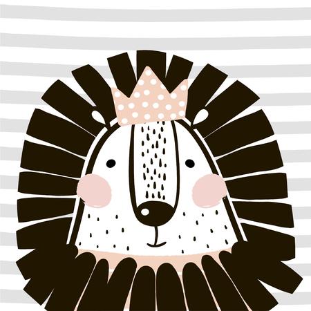 스 칸디 나 비아 스타일의 크라운 귀여운 만화 사자 소녀. 종묘장, 어린이 의류, 포스터, 엽서를위한 어린 프린트. 벡터 일러스트 레이션