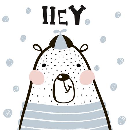 Garçon d'ours mignon dessin animé dans un style scandinave. Impression enfantine pour la crèche, les vêtements pour enfants, les affiches, les cartes postales. Illustration vectorielle Banque d'images - 83158039