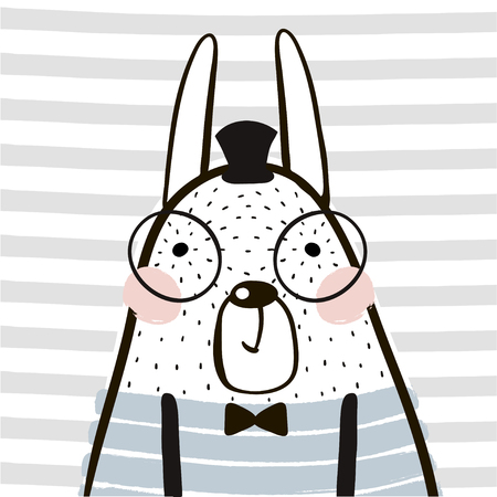 Cute cartoon rabbit in scandinavian style. Childish print for nursery, kids apparel,poster, postcard. Vector Illustration  イラスト・ベクター素材
