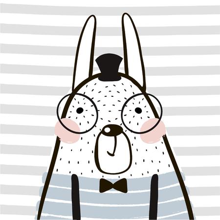 Leuk cartoon konijn in scandinavische stijl. Kinderlijke druk voor kinderdagverblijf, kinderkleding, poster, briefkaart. Vectorillustratie