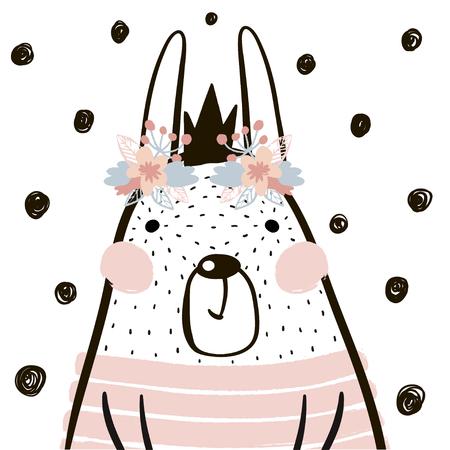스 칸디 나 비아 스타일의 왕관과 함께 귀여운 만화 토끼 소녀. 종묘장, 어린이 의류, 포스터, 엽서를위한 어린 프린트. 벡터 일러스트 레이션 일러스트
