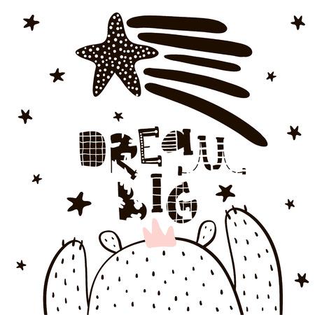 Ragazzo di orso simpatico cartone animato in stile scandinavo. Stampa infantile per asilo nido, abbigliamento per bambini, poster, cartolina. Illustrazione vettoriale Archivio Fotografico - 83158040
