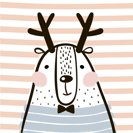 Cute cartoon dear in scandinavian style. Childish print for nursery, kids apparel,poster, postcard. Vector Illustration