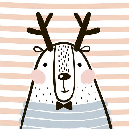 Cute cartoon dear in scandinavian style. Childish print for nursery, kids apparel,poster, postcard. Vector Illustration
