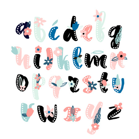 Made with ink alphabet with floral elements.Decorative abc isolated on white. Vector Illustration