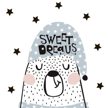 귀여운 만화 자고 곰 스 칸디 나 비아 스타일입니다. 종묘장, 어린이 의류, 포스터, 엽서를위한 어린 프린트. 벡터 일러스트 레이션 일러스트