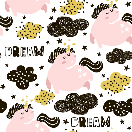 Cute seamless pattern with fairy unicorns and clouds. Childish texture for fabric, textile. Scandinavian style. Vector Illustration