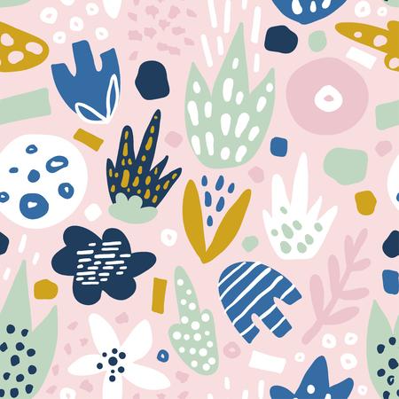 펑키 꽃과 꽃 원활한 패턴입니다. 크리 에이 티브 서피스 디자인 벡터 배경 일러스트
