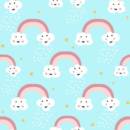 Nahtloses Muster mit Regenbogen und glücklichen Wolken. Kindische Vektorbeschaffenheit für Gewebe, Gewebe.