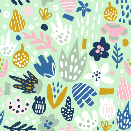 Floral seamless pattern with funky flowers. Creative surface design vector background Çizim