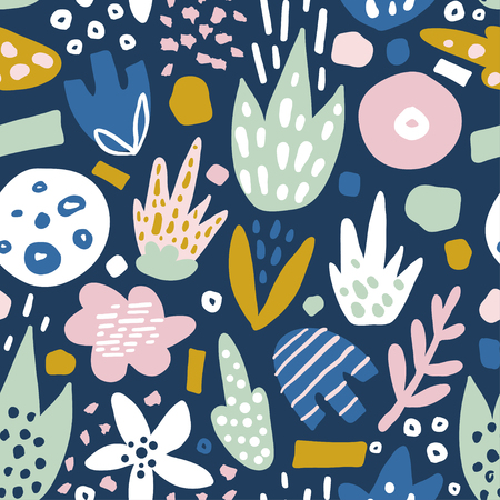 펑키 꽃과 꽃 원활한 패턴입니다. 크리 에이 티브 서피스 디자인 벡터 배경 스톡 콘텐츠 - 84671728