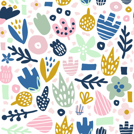 Floral seamless pattern with funky flowers. Creative surface design vector background Illustration