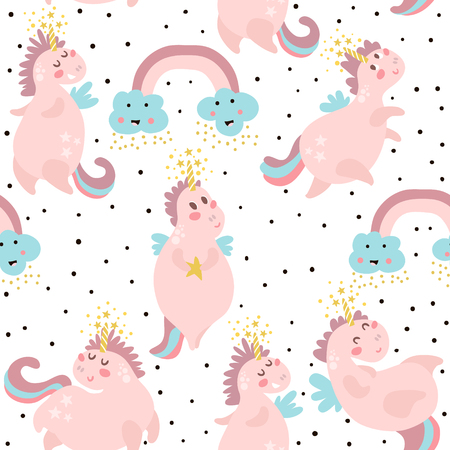 Cute seamless pattern with fairy unicorns.Childish texture for fabric, textile. Scandinavian style. Vector Illustration