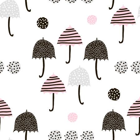 手でシームレスなパターンは、カラフルなパラソルを描かれています。幼稚なテクスチャです。生地、繊維ベクトル図に最適