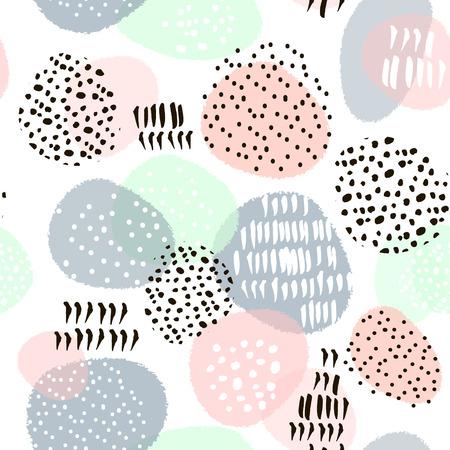 Naadloos abstract patroon met hand getekende vormen en elementen. Vector trendy textuur