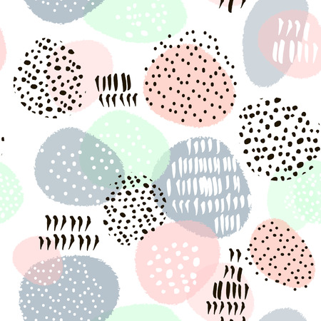 Seamless abstract pattern with hand drawn shapes and elements. Vector trendy texture Ilustração