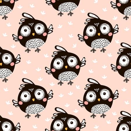 Naadloos patroon met beeldverhaalvogels in Skandinavische stijl. Creatieve vector kinderachtige achtergrond voor stof, textiel Stockfoto - 84671735