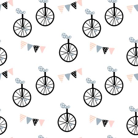 Naadloos patroon met monocycle en Vlagslinger. Kinderachtige textuur voor stof, textiel. Vector achtergrond