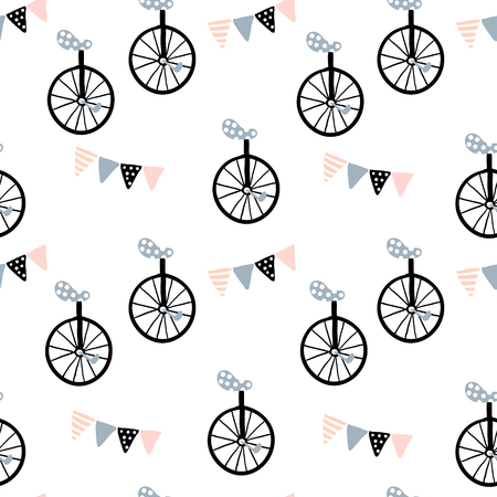 Seamless pattern with monocycle and Flag garland. Childish texture for fabric, textile. Vector background