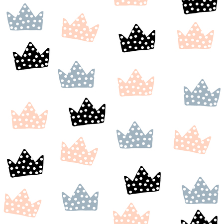 Seamless pattern with crowns. Childish texture for fabric, textile. Vector background Ilustração