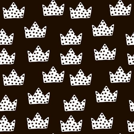 원활한 흑백 패턴 크라운입니다. 패브릭, 섬유에 대 한 유치 한 질감입니다. 벡터 배경