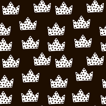 Seamless black and white pattern with crowns. Childish texture for fabric, textile. Vector background Ilustração