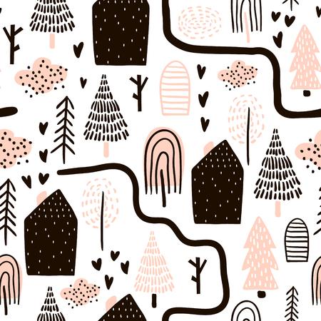 Monocromo De Patrones Sin Fisuras Con árboles. Textura Infantil Para ...
